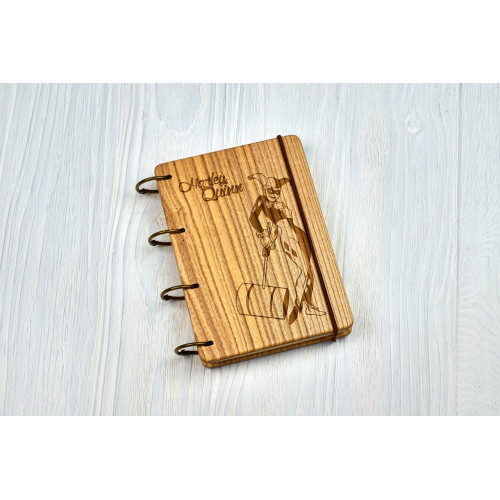 """Блокнот А6 """"Harley Quinn"""" з натурального дерева на кільцях. Записна книжка. Альбом для малювання. Щоденник."""