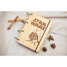 """Блокнот А6 """"Star wars"""" з натурального дерева на кільцях (гравірування). Записна книжка. Альбом для малювання. Щоденник."""