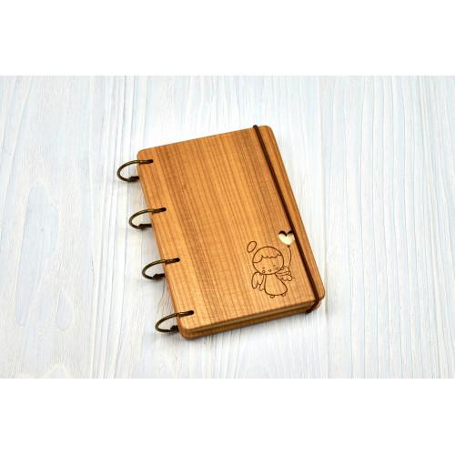 """Блокнот А6 """" Янголятко"""" з натурального дерева на кільцях. Записна книжка. Альбом для малювання. Щоденник."""