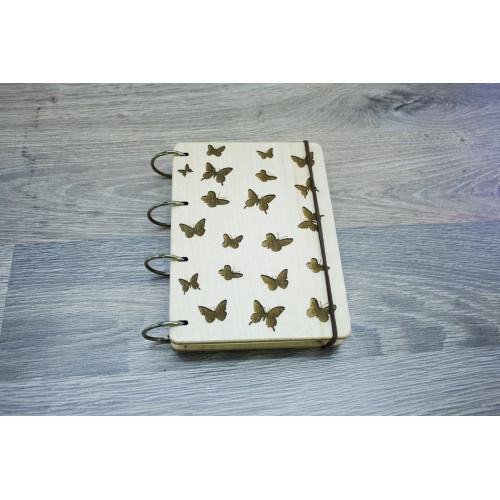 """Блокнот А6 """"Метелики"""" з натурального дерева на кільцях. Записна книжка. Альбом для малювання. Щоденник."""