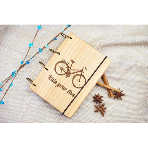 """Купить Блокнот А6 """"Велосипед"""" з натурального дерева на кільцях. Записна книжка. Альбом для малювання. Щоденник.  по выгодной цене"""