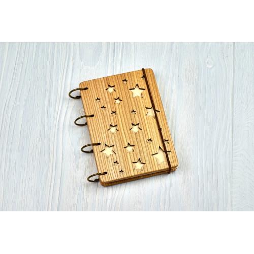 """Блокнот А6 """"Зірочки"""" з натурального дерева на кільцях. Записна книжка. Альбом для малювання. Щоденник."""