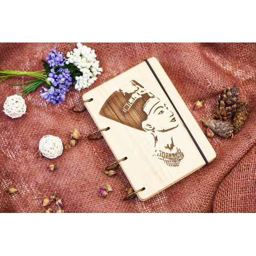 "Блокнот А6 ""Клеопатра"" з натурального дерева на кільцях. Записна книжка. Альбом для малювання. Щоденник."