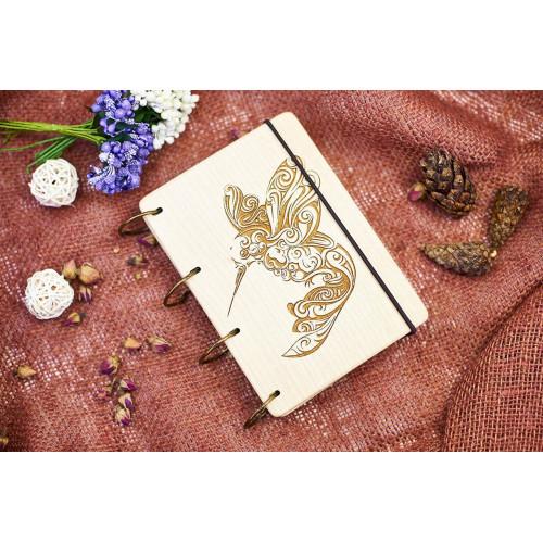 """Блокнот А6 """"Колібрі"""" з натурального дерева на кільцях. Записна книжка. Альбом для малювання. Щоденник."""