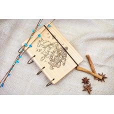 "Блокнот А6 ""Корабель"" з натурального дерева на кільцях. Записна книжка. Альбом для малювання. Щоденник."