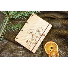 """Блокнот А6 """"Маки"""" з натурального дерева на кільцях. Записна книжка. Альбом для малювання. Щоденник."""