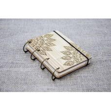 """Блокнот А6 """"Мандала"""" з натурального дерева на кільцях. Записна книжка. Альбом для малювання. Щоденник."""