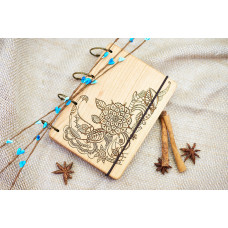 """Блокнот А6 """"Міхенді"""" з натурального дерева на кільцях. Записна книжка. Альбом для малювання. Щоденник."""