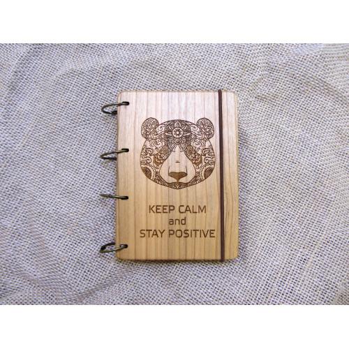 """Блокнот А6 """"Панда"""" з натурального дерева на кільцях. Записна книжка. Альбом для малювання. Щоденник."""