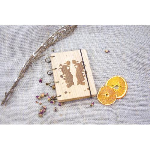 """Блокнот А6 """"Плями Роршаха"""" з натурального дерева на кільцях. Записна книжка. Альбом для малювання. Щоденник."""