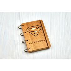 """Блокнот А6 """"Superman"""" з натурального дерева на кільцях. Записна книжка. Альбом для малювання. Щоденник."""
