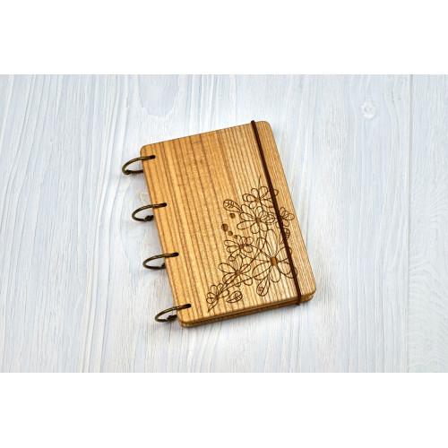 """Блокнот А6 """"Квіти"""" з натурального дерева на кільцях. Записна книжка. Альбом для малювання. Щоденник."""