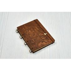 """Блокнот А5 """"Янголятко"""" з фанери на кільцях. Записна книжка. Альбом для малювання. Щоденник."""