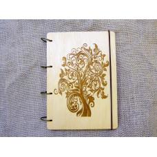 """Блокнот А5 """"Дерево"""" з фанери на кільцях. Записна книжка. Альбом для малювання. Щоденник."""