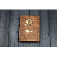 """Блокнот А5 """"Троянда"""" з фанери на кільцях. Записна книжка. Альбом для малювання. Щоденник."""