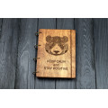 """Блокнот А5 """"Панда """" з фанери на кільцях. Записна книжка. Альбом для малювання. Щоденник."""