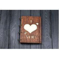 """Блокнот А5 """"Серце"""" з фанери на кільцях. Записна книжка. Альбом для малювання. Щоденник."""