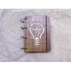 """Блокнот А6 """"Ідея"""" з фанери на кільцях. Записна книжка. Альбом для малювання. Щоденник."""