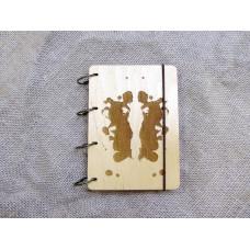 """Блокнот А6 """"Плями Роршаха"""" з фанери на кільцях. Записна книжка. Альбом для малювання. Щоденник."""