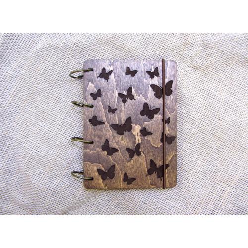 """Блокнот А6 """"Метелики"""" з фанери на кільцях. Записна книжка. Альбом для малювання. Щоденник."""