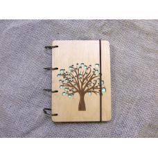 """Блокнот А6 """"Дерево закоханих"""" з фанери на кільцях. Записна книжка. Альбом для малювання. Щоденник."""