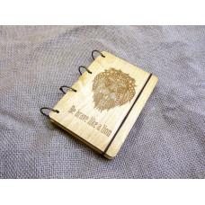 """Блокнот А6 """"Лев"""" из фанеры на кольцах. Записная книжка. Альбом для рисования. Дневник."""
