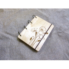 """Блокнот А6 """"Маки"""" з фанери на кільцях. Записна книжка. Альбом для малювання. Щоденник."""