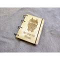 """Блокнот А6 """"ОWLsome"""" з фанери на кільцях. Записна книжка. Альбом для малювання. Щоденник."""