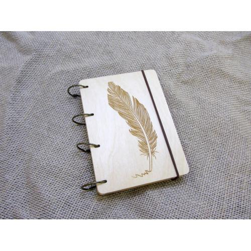 """Блокнот А6 """"Перо"""" з фанери на кільцях. Записна книжка. Альбом для малювання. Щоденник."""