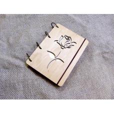 """Блокнот А6 """"Троянда"""" з фанери на кільцях. Записна книжка. Альбом для малювання. Щоденник."""