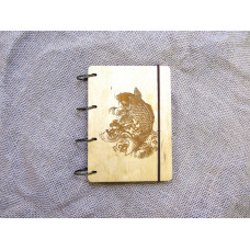 """Блокнот А6 """"Риби"""" з фанери на кільцях. Записна книжка. Альбом для малювання. Щоденник."""
