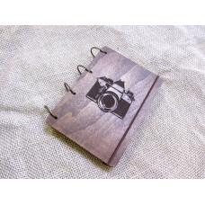 """Блокнот А6 """"Фотокамера"""" з фанери на кільцях. Записна книжка. Альбом для малювання. Щоденник."""