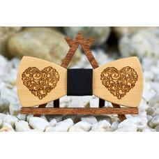 Краватка метелик гравірування Сердечки на шию під сорочки чоловічі