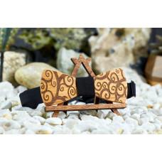 """Краватка-метелик """"Завитки"""" з натурального дерева з гравіюванням"""