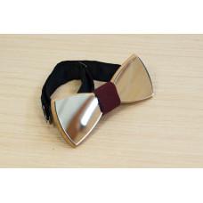"Краватка-метелик дзеркальна ""Срібло"" з натурального дерева"