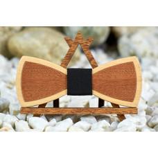"""Краватка-метелик шпонована """"Пелюсток темний"""" з натурального дерева"""