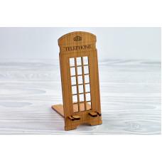 """Підставка для телефону """"Телефонна будка"""" з натурального дерева"""