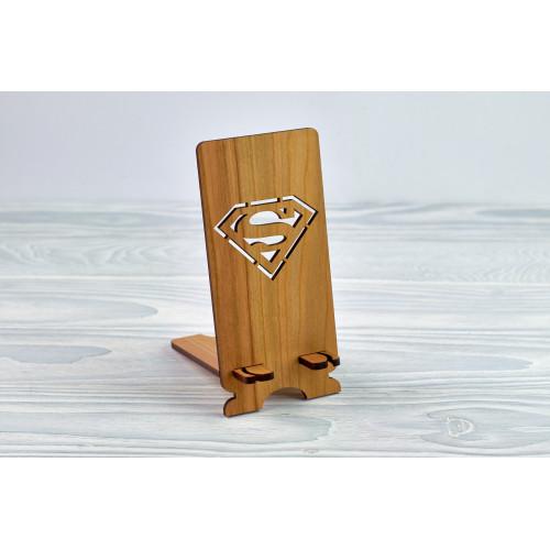 """Підставка для телефону """"Супермен"""" з натурального дерева"""
