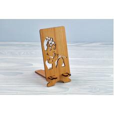 """Підставка для телефону """"Одрі Хепберн"""" з натурального дерева"""