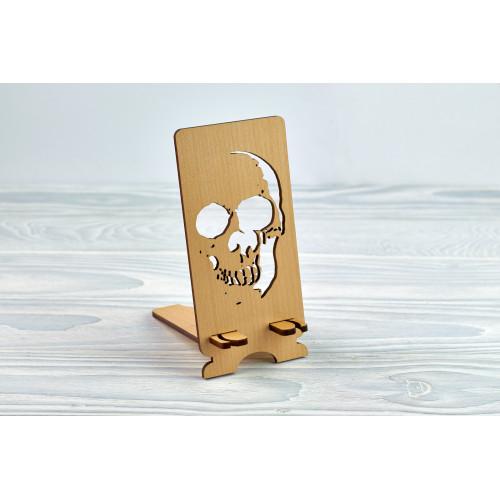 """Підставка для телефону """"Череп"""" з натурального дерева"""
