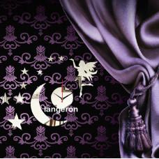 Декор дзеркальний пластик годинник дівчинка місяць зірки