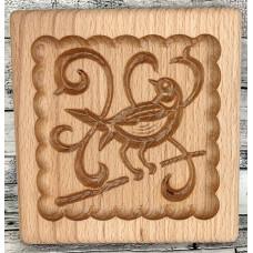 Пряникове дошка Соловей на гілочці деревяна розмір 14 *13 * 2см. Форма для формування пряників