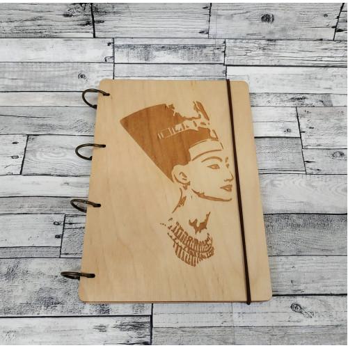 """Блокнот А5 """"Клеопатра"""" з фанери на кільцях. Записна книжка. Альбом для малювання. Щоденник."""