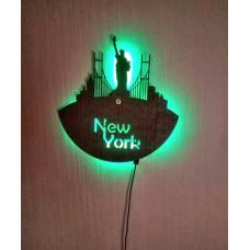 Годинник настінний з фанери New York світильник-нічник з пультом