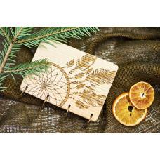 """Блокнот А6 """"Лев"""" з натурального дерева на кільцях. Записна книжка. Альбом для малювання. Щоденник."""