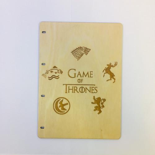 """Блокнот А5 """"Гра престолів"""" з фанери на кільцях. Записна книжка. Альбом для малювання. Щоденник."""