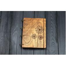 """Блокнот А5 """"кульбаби"""" з фанери на кільцях. Записна книжка. Альбом для малювання. Щоденник."""