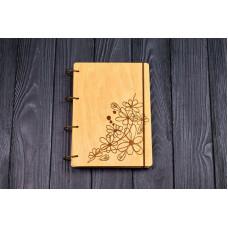 """Блокнот А5 """"квіти"""" з фанери на кільцях. Записна книжка. Альбом для малювання. Щоденник."""