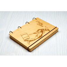 """Блокнот А5 """"Harley Quinn"""" з фанери на кільцях. Записна книжка. Альбом для малювання. Щоденник."""