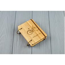 """Кишеньковий блокнот з дерева формат А7 на кільцях """"Велосипед"""""""
